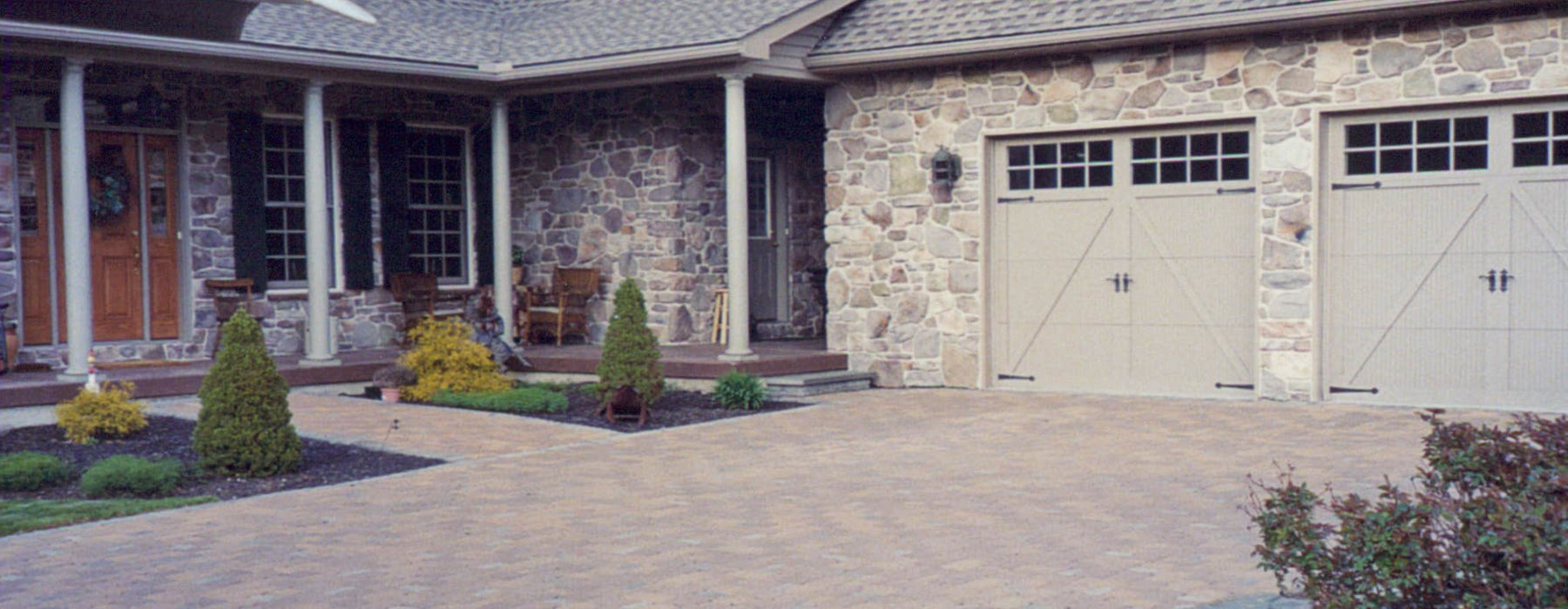 Stone house with garage