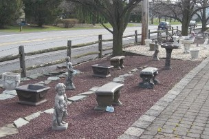 concrete statuary bird baths benches fountains planters